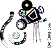 motion picture camera Vector Clipart graphic
