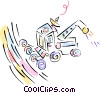 tractor with satellite dish Vector Clip Art graphic