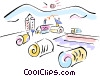 Vector Clip Art picture  of a farm