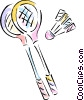 Vector Clip Art image  of a Badminton rackets