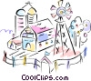 farm, silo, and windmill Vector Clip Art graphic
