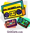 portable stereo Vector Clipart graphic