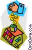 Vector Clipart graphic  of a money into the house