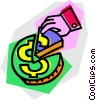 Vector Clip Art graphic  of a piece of the money pie