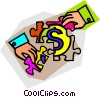 money puzzle Vector Clipart image