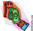 Vector Clipart illustration  of a dollar bills