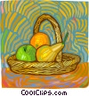 Vector Clip Art graphic  of a basket of fruit