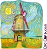 Vector Clip Art image  of a windmill