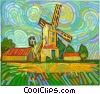 Farm with windmill Vector Clip Art graphic