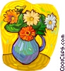 Vase with flowers Vector Clipart graphic