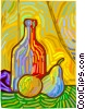 Vector Clipart image  of a fruit with wine bottle