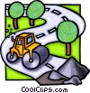 Vector Clipart image  of a steam roller