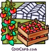 green house, tomatoes Vector Clipart illustration