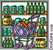 Shopping cart full of groceries Vector Clip Art picture