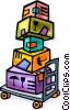 Vector Clipart picture  of a cart with boxes