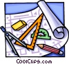 Vector Clipart illustration  of a drafting tools