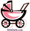 Vector Clipart graphic  of a baby stroller