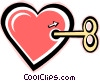 Vector Clipart graphic  of a wind up toy heart