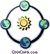 Earth rotating around the sun Vector Clipart illustration