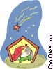 Vector Clip Art image  of a Nativity scene