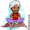 Genie on magic carpet Vector Clipart picture