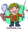 Vector Clip Art image  of a Fisherman with pole