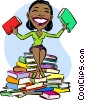 Woman sitting on stack of books she read Vector Clip Art picture