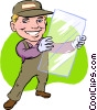 Vector Clip Art image  of a glass repairman