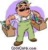 Vector Clip Art graphic  of a carpenter