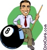 Pool player with eight ball Vector Clip Art graphic