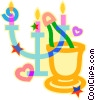 candles, champagne Vector Clipart illustration
