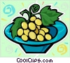 Vector Clip Art image  of a bowl of grapes