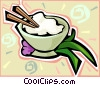 bowl of rice Vector Clipart illustration