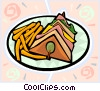 Vector Clip Art image  of a club sandwich