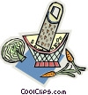food grater with lettuce and carrots Vector Clipart image