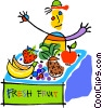 fruit stand Vector Clipart illustration