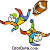Vector Clipart graphic  of a kids playing football