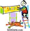 Vector Clipart graphic  of a shop owner