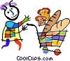 Vector Clip Art image  of a shopper