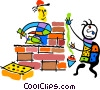 Vector Clip Art graphic  of a construction workers
