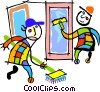 Vector Clipart picture  of a window washer