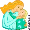 Mother and child Vector Clip Art picture