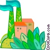 Vector Clip Art picture  of a factory