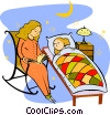 Vector Clip Art graphic  of a Mother reading child bed time