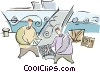 Vector Clip Art image  of a fishing boat