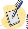 Vector Clip Art graphic  of a paper with pen
