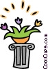 Vector Clip Art graphic  of a flowers on a pedestal