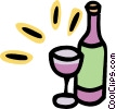 bottle of wine with wine glasses Vector Clip Art picture