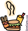 Vector Clipart image  of a Hambuger fries and drink