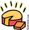 Vector Clip Art picture  of a Brick of cheese with slice